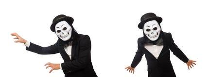 El hombre con la máscara asustadiza aislada en blanco fotografía de archivo