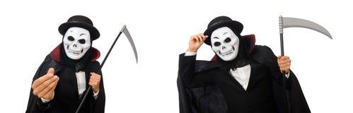 El hombre con la máscara asustadiza aislada en blanco imagen de archivo libre de regalías