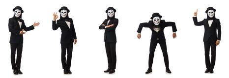 El hombre con la máscara asustadiza aislada en blanco imágenes de archivo libres de regalías