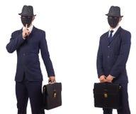 El hombre con la máscara y cartera aislada en blanco fotografía de archivo libre de regalías