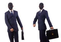 El hombre con la m?scara y cartera aislada en blanco imágenes de archivo libres de regalías
