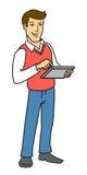 El hombre con la tableta. Imágenes de archivo libres de regalías