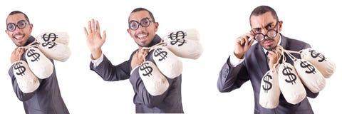 El hombre con los sacos del dinero en blanco Imagen de archivo