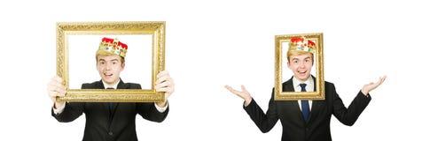 El hombre con el marco aislado en el blanco imagen de archivo libre de regalías