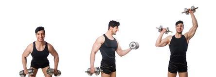El hombre con pesas de gimnasia aislado en blanco fotografía de archivo