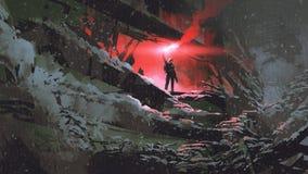 El hombre con una llamarada roja del humo ilustración del vector