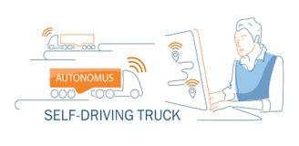 El hombre conduce el camión autónomo automotor Concepto de transporte de la innovación libre illustration