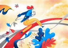 El hombre corre dentro de un jardín extraño y colorido stock de ilustración