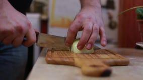 El hombre cortó las cebollas en la cocina casera almacen de video
