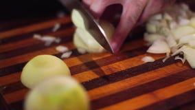El hombre corta cebollas en una tabla de cortar almacen de metraje de vídeo