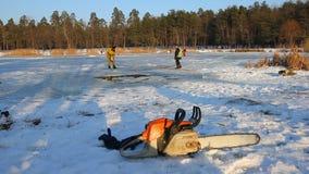 El hombre corta el hielo con la motosierra en el lago congelado El audio incluye Cisnes y patos del ahorro en el lago congelado P metrajes