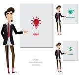 El hombre creativo hace una presentación stock de ilustración