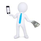 el hombre 3d cambia el smartphone en el dinero Imagen de archivo