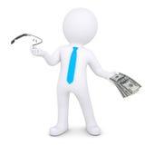 el hombre 3d cambia el vidrio de Google en el dinero libre illustration