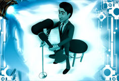 el hombre 3d canta la canción en el ejemplo de la guitarra del mic y del juego Imágenes de archivo libres de regalías