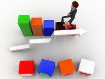 el hombre 3d con crece el cubo y el concepto del gráfico de la barra y de la flecha Imagen de archivo libre de regalías