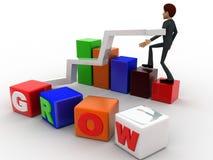 el hombre 3d con crece el cubo y el concepto del gráfico de la barra y de la flecha Fotos de archivo libres de regalías