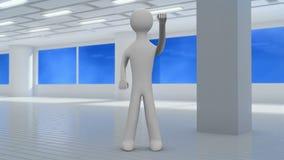 el hombre 3d hace los ejercicios para las manos en gimnasio Front View bucle 4K ilustración del vector