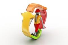 el hombre 3d que camina adentro recicla el icono Imágenes de archivo libres de regalías