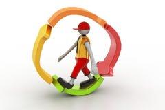 el hombre 3d que camina adentro recicla el icono Foto de archivo libre de regalías
