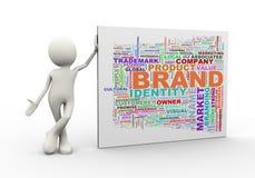 el hombre 3d que se coloca con palabra del wordcloud de la marca marca con etiqueta Fotografía de archivo
