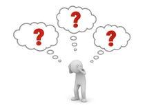 el hombre 3d que se coloca y que piensa con los signos de interrogación rojos en pensamiento burbujea sobre su concepto principal ilustración del vector