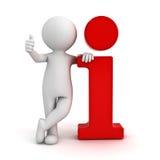 el hombre 3d que se inclina en icono rojo de la información y que muestra manosea con los dedos encima de gesto de mano Imagen de archivo
