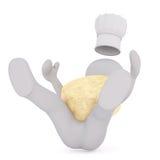 el hombre 3D sufre una caída terrible con queso grande Imagen de archivo libre de regalías