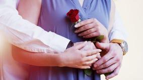 El hombre da a una mujer a una Rose Ella lleva a cabo su mano Imagen de archivo