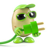 el hombre de la patata 3d utiliza energía verde Fotografía de archivo