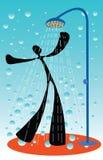 El hombre de la sombra toma una ducha Imagen de archivo libre de regalías