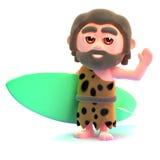 el hombre de las cavernas 3d va a practicar surf libre illustration