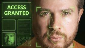 El hombre de los análisis del sistema del ordenador hace frente e identifica a la persona Acceso concedido imagen de archivo