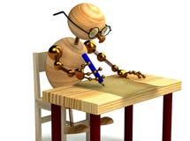 el hombre de madera 3d está escribiendo una letra aislada Imagen de archivo libre de regalías