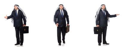 El hombre de negocios árabe con la cartera aislada en blanco imagenes de archivo