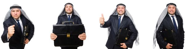 El hombre de negocios árabe con la cartera aislada en blanco foto de archivo libre de regalías
