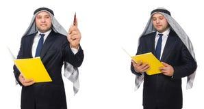 El hombre de negocios árabe con las notas aisladas en blanco fotografía de archivo libre de regalías