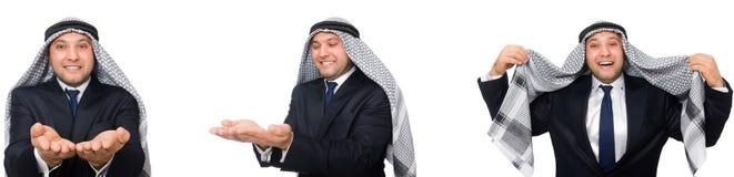 El hombre de negocios árabe en el traje aislado en blanco foto de archivo