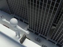 el hombre de negocios 3d salta de la tapa del edificio Imagen de archivo