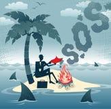 El hombre de negocios abstracto envía señales de humo en una isla. Imagen de archivo libre de regalías