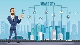 El hombre de negocios acertado con smartphone utiliza la tecnología inalámbrica stock de ilustración