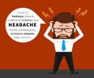 El hombre de negocios afortunado tiene un dolor de cabeza Fotografía de archivo