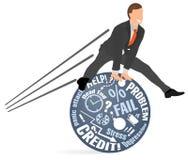 El hombre de negocios alegre salta sobre sus problemas y miedos Concepto de equilibrio emocional mental, calmando abajo, resisten ilustración del vector