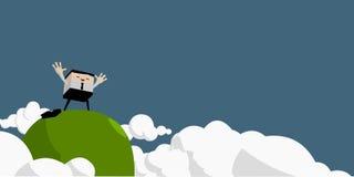 El hombre de negocios aumentó las manos en el top de la montaña Imagen de archivo