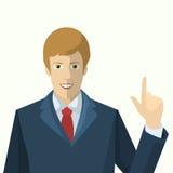 El hombre de negocios aumentó su mano con el dedo índice Imagen de archivo