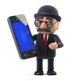el hombre de negocios británico cubierto con sombrero del jugador de bolos 3d tiene un nuevo dispositivo del teléfono de la table Imagen de archivo