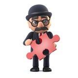 el hombre de negocios británico cubierto con sombrero del jugador de bolos 3d tiene una pieza del rompecabezas imagen de archivo