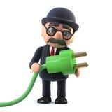 el hombre de negocios británico cubierto con sombrero del jugador de bolos 3d utiliza energía verde fotografía de archivo