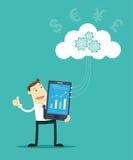 El hombre de negocios And Cloud Computing Libre Illustration