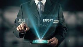 El hombre de negocios con concepto del éxito elige la dosis adicional de esfuerzo de más esfuerzo usando la tableta digital